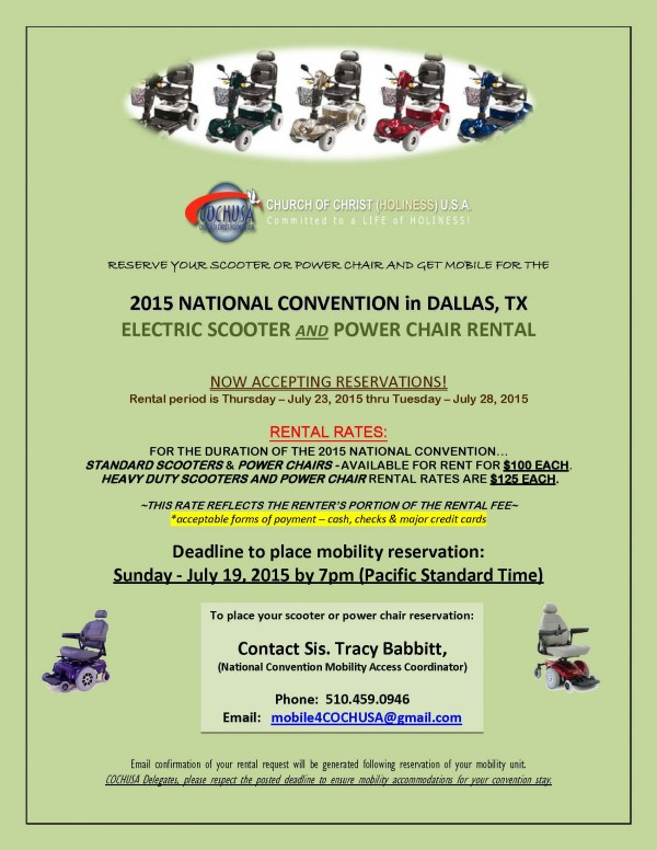 2015 National Convention Scooter Rental email flyer -announcement WITH rates - DFW