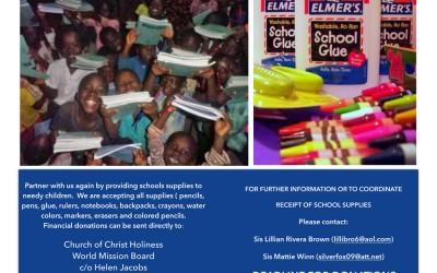 WMB Annual School Supplies Drive
