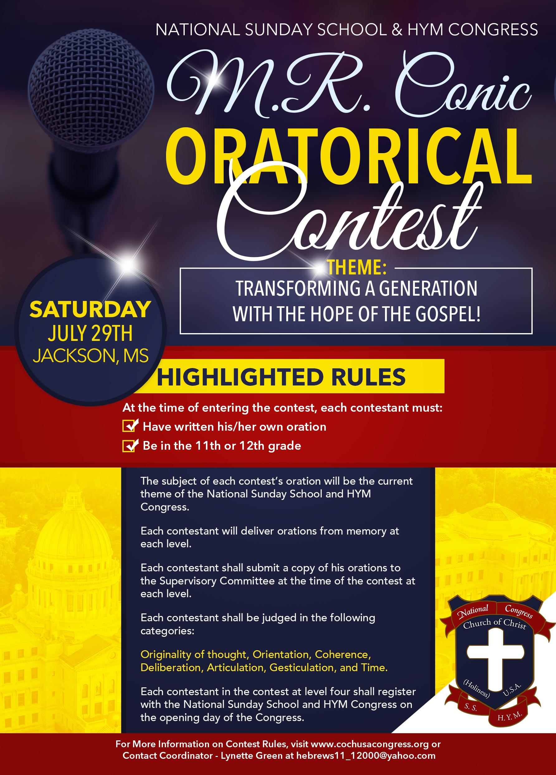 2017 M. R. Conic Oratorical Contest @      
